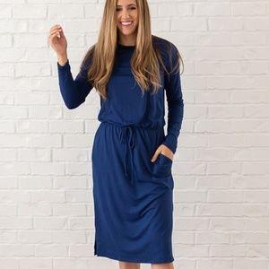 REBORN J Modest Midi Dress Navy Blue Large